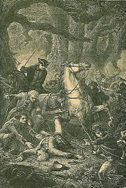 Braddock's death at the Battle of Monongahela 9-July-1755