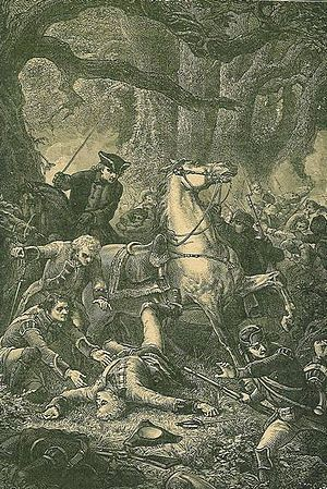 Braddock Expedition - 19th-century engraving of the wounding of Major-General Braddock at the Battle of the Monongahela.