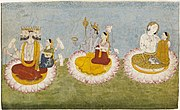 Brahma, Vishnu and Shiva seated on lotuses with their consorts, ca1770.jpg