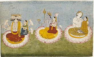 Triple deity - Brahma, Vishnu and Shiva seated on lotuses with their consorts: Saraswati, Lakshmi, and Paravati respectively. ca 1770.