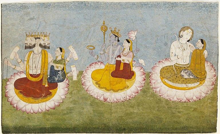 Brahma, Vishnu and Shiva seated on lotuses with their consorts, ca1770