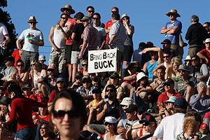 Wayne Shelford - Bring Back Buck sign at Fill The Basin charity cricket event