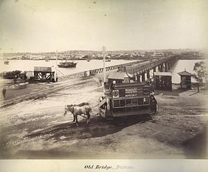 Brisbane Transport - Double deck horse tram at the northern end of the first permanent Victoria Bridge c.1890