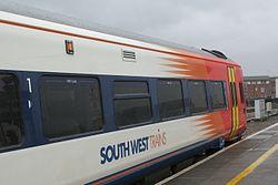 Bristol Temple Meads - SWT 159102 Waterloo service in platform 1.JPG