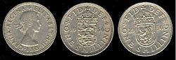 1956 Elizabeth II UK shilling showing English and Scottish reverses