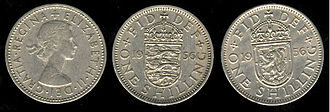 Shilling - 1956 Elizabeth II UK shilling showing English and Scottish reverses
