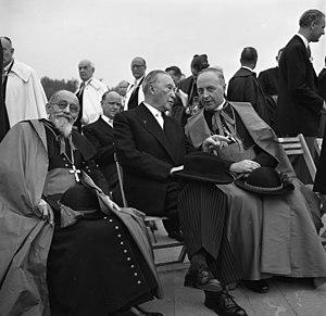 Joseph Wendel - Joseph Wendel (right) next to Konrad Adenauer (center) on the final rally of the 77th Deutscher Katholikentag 1956 (German Catholic Day) in Cologne.