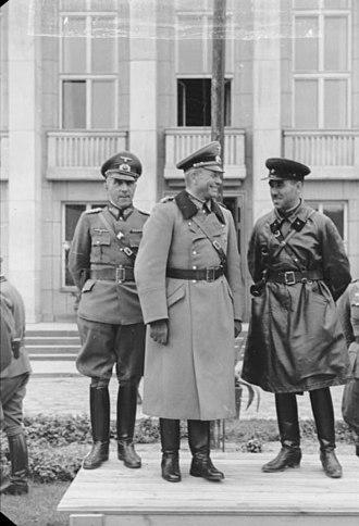 XIX Army Corps - 22 September 1939. From left to right: Mauritz von Wiktorin, Heinz Guderian, Semyon Krivoshein.