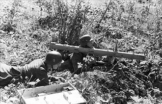 Battle of Tannenberg Line - Estonian soldiers prepare to fire a Panzerschreck in August, 1944