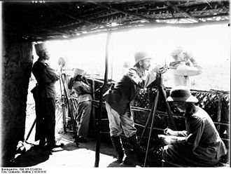 Battle of Rufiji Delta - A German artillery observation post, part of the land defenses set up around Königsberg in the Delta.