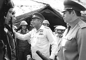 Mikhail Zaitsev - General Zaitsev, on right, during a visit to East German troops in June 1981.