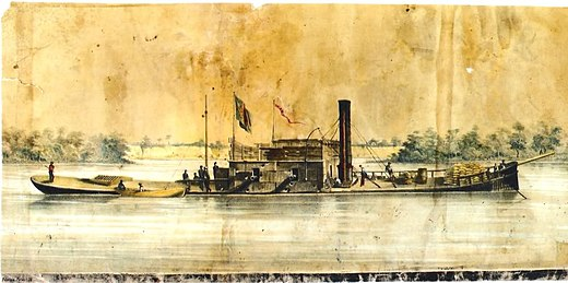 Barroso, a Brazilian ironclad of the central casemate type, the first vessel to dash past the Fortress of Humaitá on the River Paraguay
