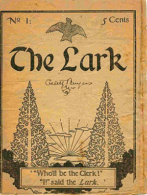 "Gelett Burgess - The 1895 issue of The Lark in which Burgess's ""Purple Cow"" first appeared"
