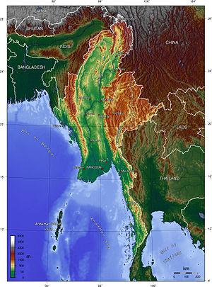 Geography of Myanmar - Image: Burma topo en