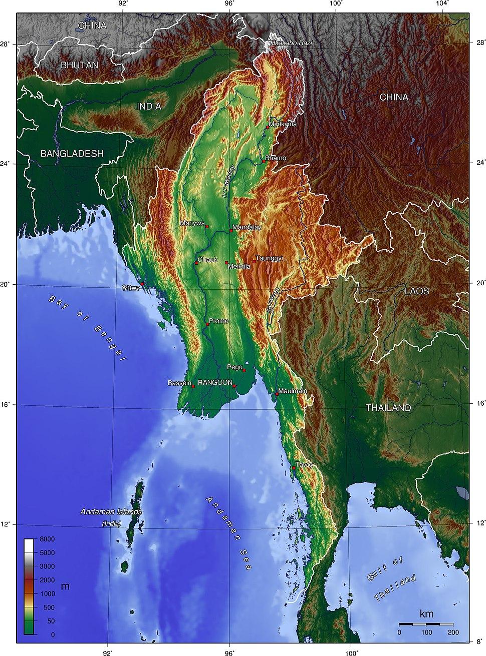 Burma topo en