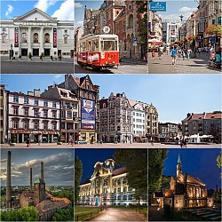 From top, left to right: Silesian Opera, Historic tram (in background Main Post Office), Dworcowa Street, Market square, Szombierki Heat Power Station, High school on Władysław Sikorski Square, The church of St. Margaret