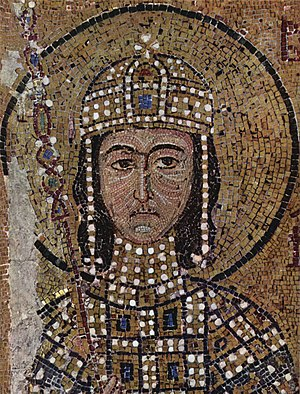 Alexios Komnenos (co-emperor) - Mosaic of Alexios Komnenos in Hagia Sophia. He is depicted as a beardless youth, probably at the time of his coronation at 16 or 17 years of age.