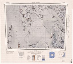 none  Topografisk kart med skala 1:250 000 of Freyberg Mountains and Evans Névé.