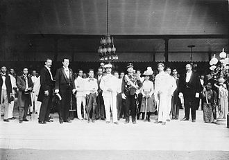 Pakubuwono X - Pakubuwono X (in black military uniform) with King Chulalongkorn of Siam (center) during the latter's state visit to the Dutch East Indies in 1896