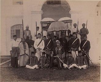 Idris Shah I of Perak - Sultan Idris Shah I and his personal staff, 1897.
