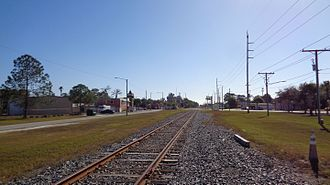 Orange Belt Railway - A portion of CSX's Clearwater Subdivision in Pinellas Park, Florida in 2016 along the former right-of-way of the Orange Belt Railway.