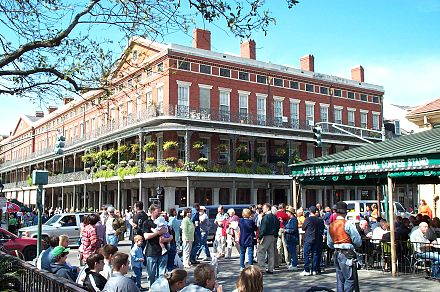 Cafe du Monde, a landmark New Orleans beignet cafe established in 1862 Cafe du Monde New Orleans.jpg
