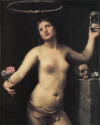 Eternity - An allegorical painting of a woman, representing eternity. She holds an hourglass, a skull rests on the table beside her, and an Ouroboros floats above her head. All of these are common symbols of eternity.