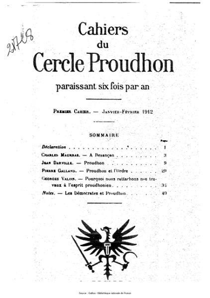 File:Cahiers du Cercle Proudhon, cahier 1, 1912.djvu
