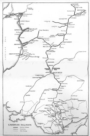 Cambrian Railways - Circa 1921 map of the Cambrian Railways
