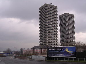 Camlachie - Camlachie tower blocks, the Bluevale and Whitevale Towers