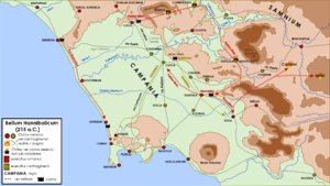 Battle of Nola (215 BC) - Map of the 215 BC campaign in Campania.