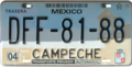 Campeche license plate DFF-81-88.png