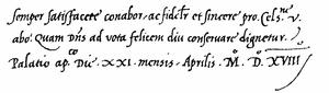 Chancery hand - Image: Cancellaresca corsiva 1518