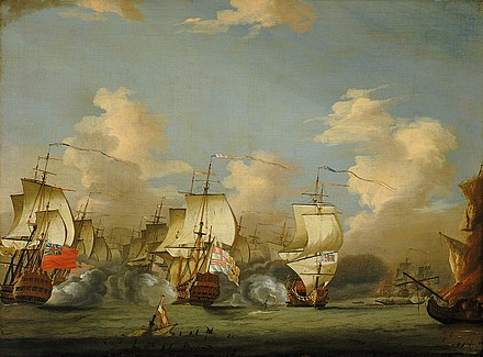 The Spanish flagship San Felipe flanked on either side by British ships, probably Superbe and Kent - painting by Isaac Sailmaker. Cape Passaro 1718.jpg