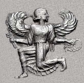 Artemisia I of Caria - Winged female figure in kneeling-running stance, holding kerykeion and victory wreath, on the coinage of Caria around the time of Artemisia.