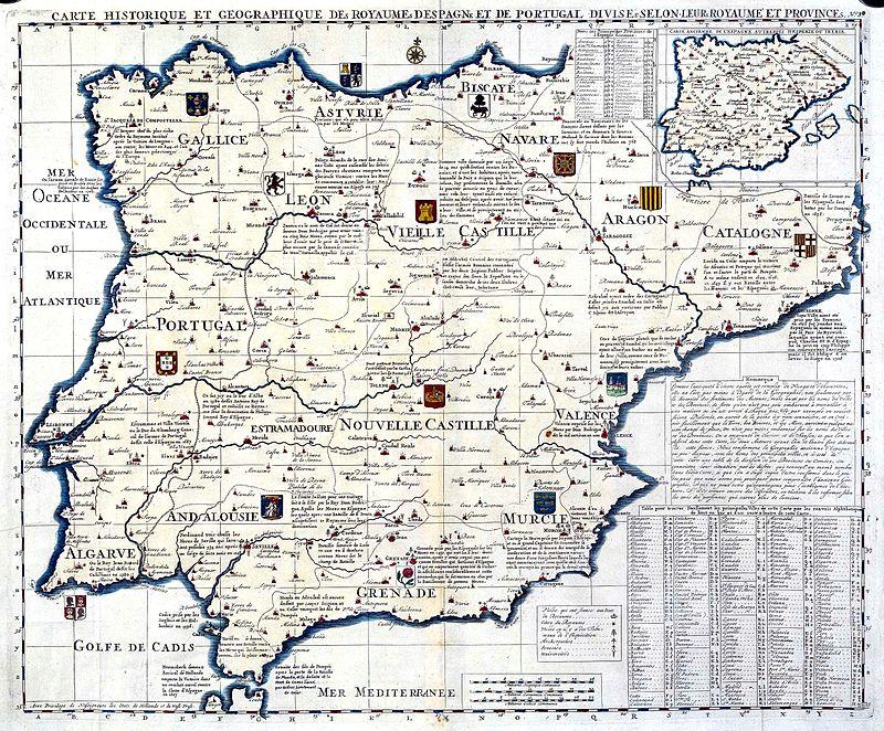 Mapa histórico y geográfico de los reinos de España y Portugal, en el Atlas historique de Henri Abraham Chatelain (1705 a 1739)