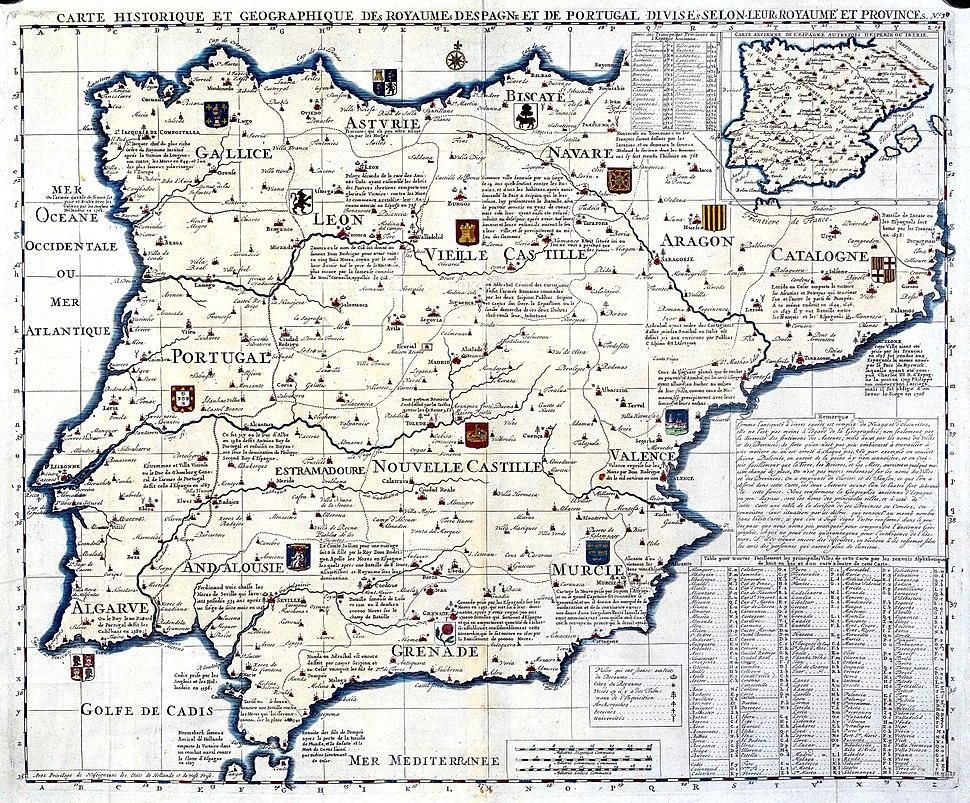 Carte historique des Royaumes d'Espagne et Portugal