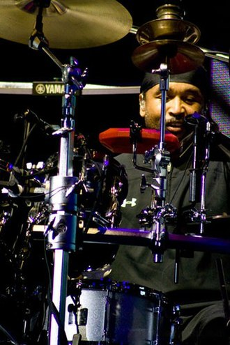 Carter Beauford - Beauford behind his drum kit with the Dave Matthews Band