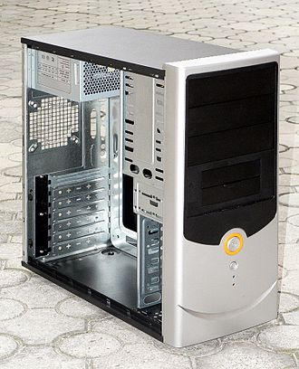 """White box (computer hardware) - A typical """"white box"""" ATX mid-tower case as used by a systems builder."""