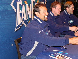 Casey Kotchman - Kotchman (left) at Seattle Mariners FanFest 2010.