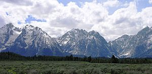 Paintbrush Canyon - Mount Saint John and Rockchuck Peak at left flank Paintbrush Canyon as does Mount Woodring at center. Leigh Canyon and the southern slope of Mount Moran are at right