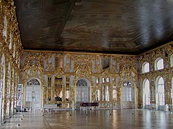 An opulent ballroom at the Catherine Palace near St. Petersburg, Russia