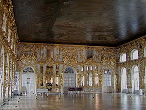 Ballroom - An opulent ballroom at the Catherine Palace near St. Petersburg, Russia