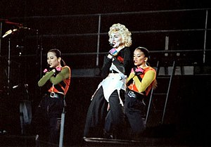 "Causing a Commotion - Madonna and her back up singers Niki Haris and Donna De Lory perform ""Causing a Commotion"" during the 1990 Blond Ambition World Tour."