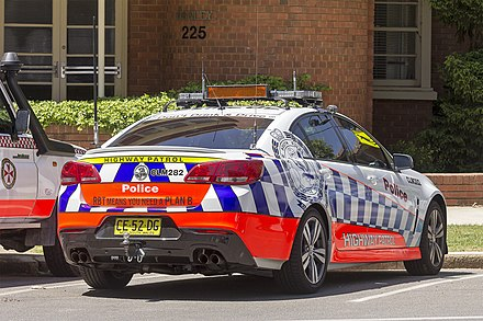 A New South Wales Police Force highway patrol car. Central Metropolitan region (CLM 282) Highway Patrol Holden VF Commodore.jpg