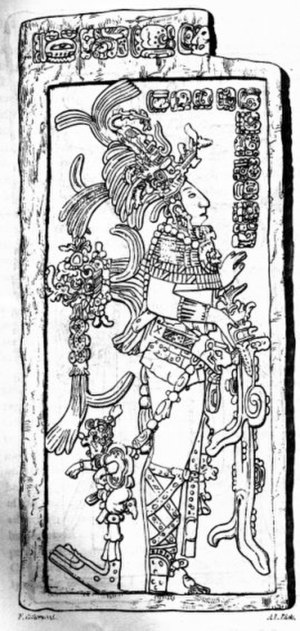 History of the Americas - K'inich Kan B'alam II, the Classic period ruler of Palenque, as depicted on a stela.