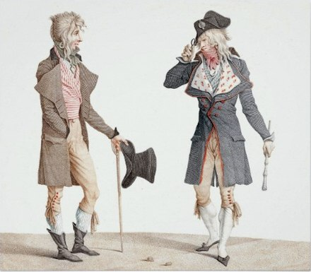 "Carle Vernet's 1796 painting showing two decadent French ""Incredibles"" greeting each other, one with what appears to be a top hat, perhaps its first recorded appearance. Charles-vernet-top-hat.jpg"