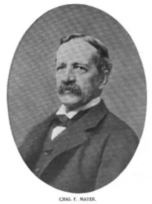 B&W photographic portrait at bust length of Charles F. Mayer, taken around 1898