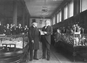 Charles Lewis Tiffany - Charles Lewis Tiffany (left) in his store, about 1887
