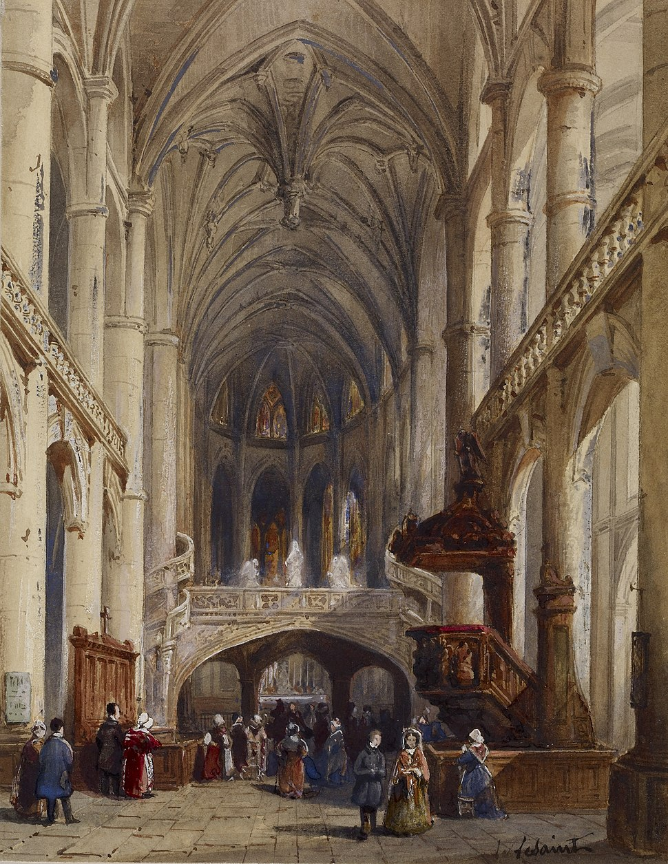 Charles Louis Lesaint - Interior, St Etienne du Mont, Paris - Walters 371363
